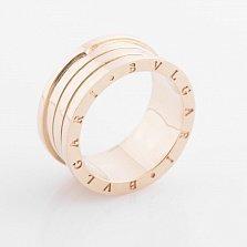 Золотое кольцо Голос тишины в желтом цвете в стиле Булгари