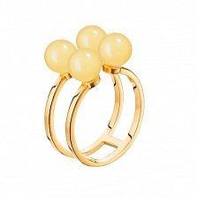 Серебряное кольцо Шарики с двойной шинкой в позолоте с лимонным янтарем