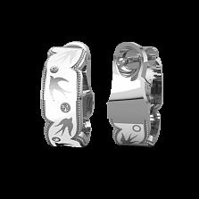 Золотые серьги с бриллиантами и эмалью Полет ласточек