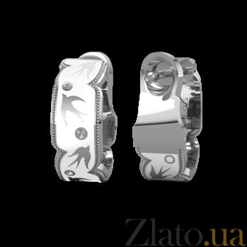 Золотые серьги с бриллиантами и эмалью Полет ласточек 000027226