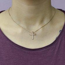Золотой декоративный крестик Синегал с дорожками бриллиантов