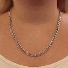 Серебряная родированная цепь Бисмарк в арабском плетении, 5,5мм