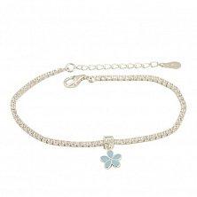 Серебряный браслет Незабудка с фианитами и голубой эмалью