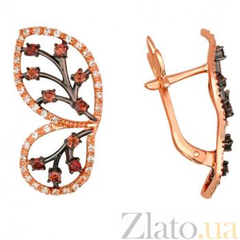 Золотые серьги с фианитами Крылья бабочки VLT--ТТ2261-2