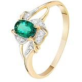 Золотое кольцо с изумрудом и бриллиантами Селеста