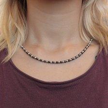 Серебряные бусы ИньЯн с чернением отдельных бусин и насечкой, 4мм