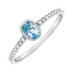 Серебряное кольцо с топазом и фианитами 000146807