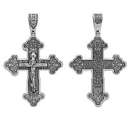 Серебряный крест с чернением Молитва спасителю 000039109