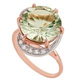 Золотое кольцо с зеленым аметистом и фианитами Марлена