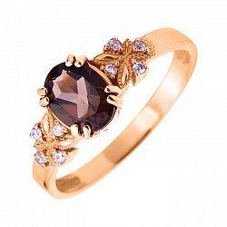 Кольцо в красном золоте с раухтопазом и фианитами 000104175