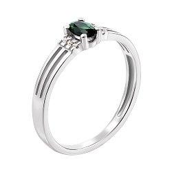 Кольцо из белого золота с изумрудом и бриллиантами 000139296