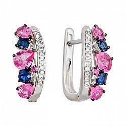 Серьги из белого золота с бриллиантами, розовыми и синими сапфирами 000081250