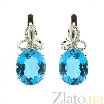 Серебряные серьги с бриллиантами и топазами Мара ZMX--EDT-6632-Ag_K