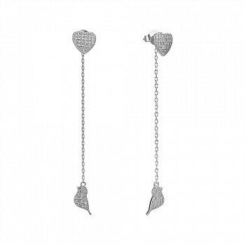 Серебряные серьги-подвески с фианитами 000144841
