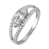 Серебряное кольцо с фианитами принцесса Елизавета