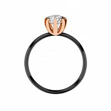 Родированное помолвочное кольцо Изящество в красном золоте с бриллиантом 0,3ct