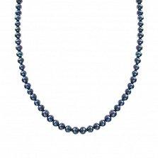Ожерелье из черного жемчуга Тайны глубин с серебряной застежкой