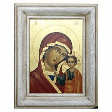 Икона на деревянной основе Казанская с цветной эмалью, 24х30