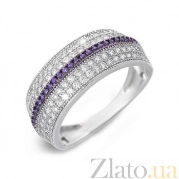 Кольцо с белыми и фиолетовыми цирконами  AQA--XJR-0218v