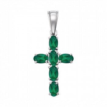 Декоративный серебряный крестик с агатом 000139200