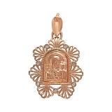 Золотая ладанка Пресвятая Богородица и Сын с фианитами