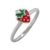 Серебряное кольцо с эмалью Клубника
