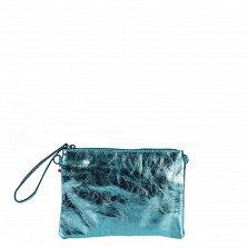 Кожаный клатч Genuine Leather 1436 небесно-синего цвета с короткой ручкой и плечевым ремнем