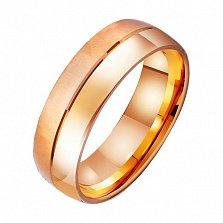 Золотое обручальное кольцо Линия любви