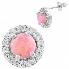 Серебряные серьги Дагмар с розовым опалом и фианитами