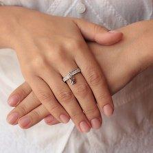 Серебряное кольцо Дарина с фианитами и подвеской-замком в стиле Луи Виттон
