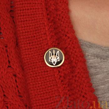 Золотой значок Национальный дух с гербом Украины и черной эмалью 000067780