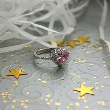Серебряное кольцо Нежность и пламя с розовым и белыми фианитами