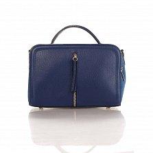 Кожаная деловая сумка Genuine Leather 8916 синего цвета с замшевыми вставками, на молнии