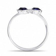 Серебряное кольцо Удача с синтезированным сапфиром