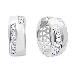 Серебряные серьги Ринг Вэй в форме кольца с дорожками из белых фианитов