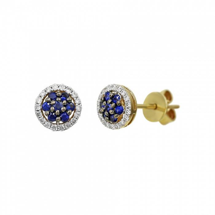 Серьги-пуссеты из желтого золота Ивори с бриллиантами и сапфирами 000081138