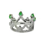 Серебряная серьга-кафф с бриллиантами и зелёными гранатами Лаура
