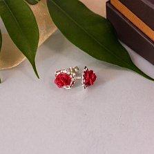 Серебряные серьги-пуссеты Розовчки с красной керамикой и фианитами