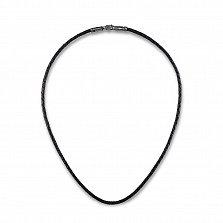 Шнурок из плетеной черной кожи Орел с серебряной родированной фигурной застежкой