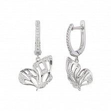 Золотые серьги с бриллиантами Порхание бабочки
