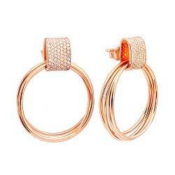 Серебряные серьги-подвески с фианитами и позолотой 000141179
