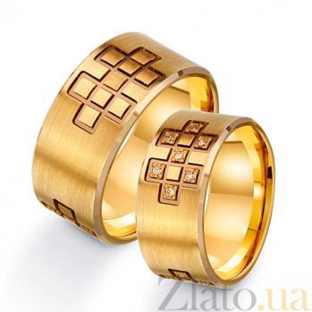 Золотое обручальное кольцо Геометрия любви с фианитами TRF--422691