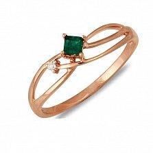 Кольцо из красного золота Феридэ с бриллиантом и изумрудом