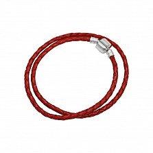 Двойной браслет из серебра и красной плетеной кожи Испания