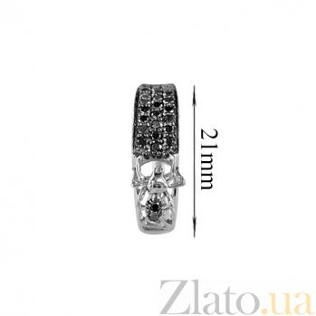 Золотые серьги с черными бриллиантами Трудолюбие 000026724