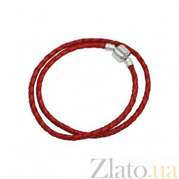 Двойной браслет из серебра и красной плетеной кожи Испания 000082054