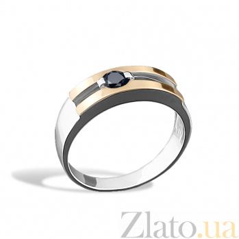 Серебряное кольцо Ленардина с золотыми накладками, черным цирконием и родием 000079100