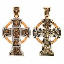 Золотой крестик с черным родированием Силы Небесные