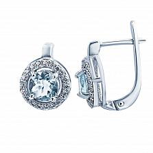 Серебряные серьги Питти с топазом и фианитами