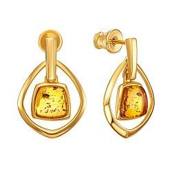 Серебряные серьги-подвески с янтарем и позолотой 000137563
